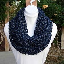 INFINITY SCARF LOOP COWL Denim & Navy Dark Blue Wool Blend Crochet Knit Circle