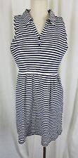 Dockers Jersey Knit Cotton Striped Summer Mini Dress Womens M Navy Blue Sailor