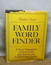 READER'S DIGEST FAMILY WORD FINDER THESAURUS  SYNONYMS & ANTHONYMS DICTIONARY