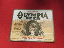 BEER BOTTLE LABEL OLYMPIA WASHINGTON IT'S THE WATER Pale Export 1933 copyright