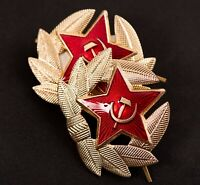 ORIGINAL SOVIET RUSSIAN METAL, (2 EACH)RED STAR & WREATH, Hat Pin