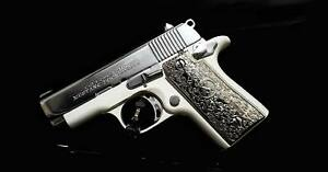 Custom Colt Mustang 380 Government Grips scroll Textured Grips Nickel