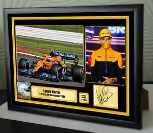 "Lando Norris Silverstone 2021 Helmet F1 Framed Canvas Signed Print ""Great Gift"""