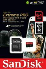 SANDISK 64GB EXTREME PRO MICRO SD SDXC Tarjeta U3, V30, A2, 170MB/s R,! nuevo!