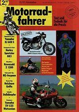 Motorradfahrer 1991 11/91 Harley-Davidson 883 MZ TS ETZ Gespann Z 1300 XJ 600 S