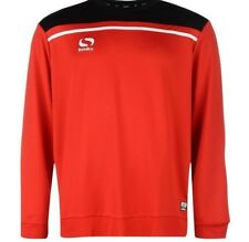 Sondico Men's Precision Crew Neck Long Sleeve Top Football Red Black Large