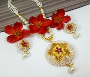 White Pearls Necklace Pendant Gold Plated Party Wear Wedding Women Jewellery Set