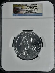 2016 5oz Silver 25c Fort Moultrie MS 69 PL Mint Sealed Box collection NGC