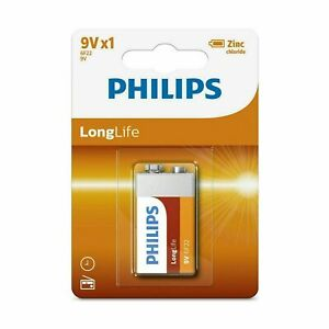 Brand New Philips Battery Zinc Carbon 9V 6F22 Long Life Batteries
