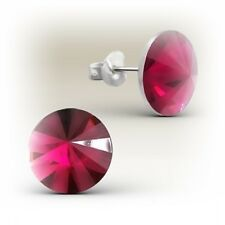 Girls Ladies Sterling Silver Ruby Round Acrylic Stud Earrings - Boxed