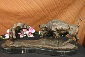 "21"" Classical Bronze Marble Statue American Buffalo Bison Bear Sculpture Figure"