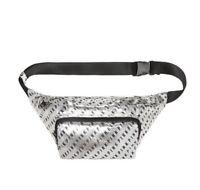 Victoria's Secret Pink Oversized Belt Bag Silver Black Logo Fanny Pack, New Rare