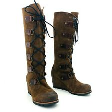 Sorel Joan of Arctic Wedge Tall Brown Leather Boots Womens Size 8.5