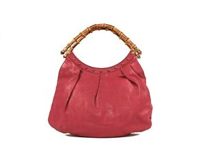 Authentic Gucci Magenta Leather and Bamboo handle tote
