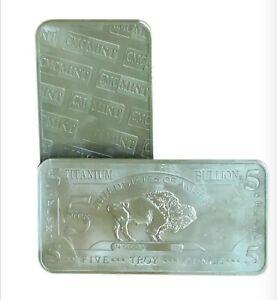 LARGE Titanium Bullion 5 Troy Ounce 5 OZ Bar INVESTMENT BAR (Multi Discount)