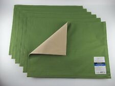 Set of 6 Placemats Mastic Green, Beige/Tan REVERSIBLE NEW Mainstays Table Ribbed
