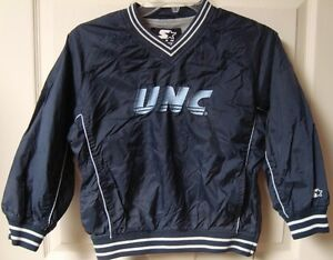 Vintage NCAA UNC Tarheels Lined Pullover Jacket Sewn Logos Youth Small Starter