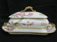 LIMOGES WM GUERIN & CO. FRANCE TUREEN (serving dish on platter) Age 1900-1932