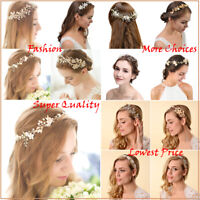 Bridal Wedding Headbands Pearl Flower Barrette Rhinestone Hair Comb Accessories