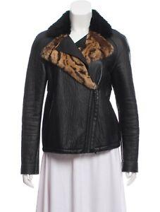 Longchamp Asymmetrical Moto Zip Jacket Black Leather Leopard Animal Fur EUC