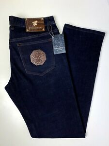 Stefano Ricci Jeans Dark Navy Brown Accents Gold Hardware Incredible Size 38x33