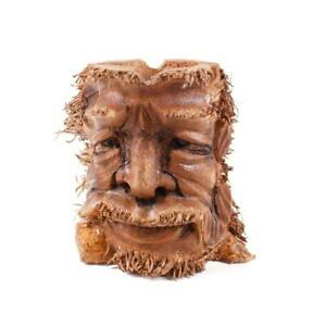 FAIRTRADE CARVED BAMBOO ROOT OLD MAN FACE  NEW FREE POSTAGE 30CM