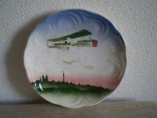 ASSIETTE 2 AVION BIPLAN 1900 CERAMIQUE BADONVILLER ART NOUVEAU AVIATION PIONIER