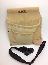 AWP Tool Belt Heavy Duty Tan Saddle Leather Adjustable Buckle New