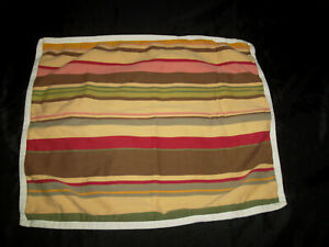 Pottery Barn Duncan Stripe Standard Pillow Sham Brown Yellow Red Green Pink