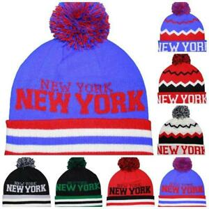 Retro NEW YORK Bobble Hat 80s Vtg Style US USA NYC Beanie Pompom 7 Colours