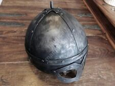 Collectible Traditional Mat Black Viking helmet with Leather Liner LARP Medieval