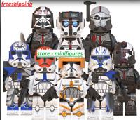 8pcs Minifigures Custom MOC Star Wars Rex Fox Wolfpack StormTrooper,Weapons Toys