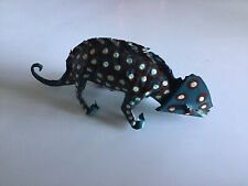 Zimbabwe African Handmade Metal Tin Animal Chameleon/Lizard Teal