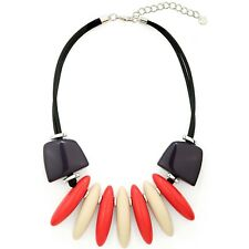 Large chunky colourful acrylic spiked choker cord necklace costume jewellery