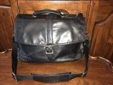 Coach Black Leather Briefcase Flap Messenger Laptop Shoulder Bag 70304
