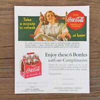 Original COCA COLA COKE Coupon Postcard 1940s Take a minute to Refresh NOS