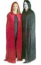 A lungo in velluto nero con cappuccio Cape Mantello Halloween Costume NUOVO p6805