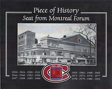 MONTREAL CANADIENS STANLEY CUP CHAMPIONS FORUM SEAT 8 X 10 COA