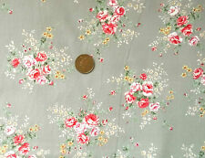 SILVER WITH POSIES OF PINK ROSES - 100% COTTON FABRIC FQ's