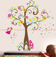 X-Large FAIRY TREE FLOWERS Wall Stickers Art Decal Girls Bedroom Decor Nursery