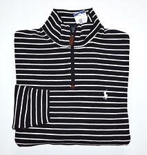 New Men's Polo Ralph Lauren Pullover Sweater 1/2 Zip, Black, White, M, Medium
