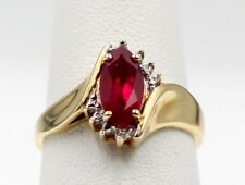 10K YELLOW GOLD MARQUISE CUT RUBY AND ROUND CUT DIAMOND RING SIZE 7 #453B-10 NR