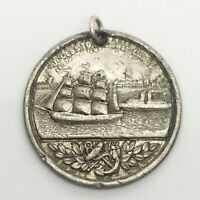 Antique 1898 Victorian Manchester Ship Canal Opening Medal Coin Pewter