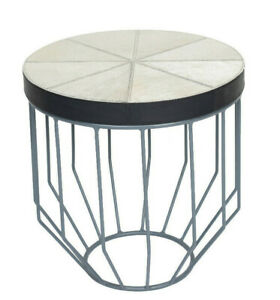 Indian Handmade Designer Hairy Gray Leather Small Damru cum Side Table
