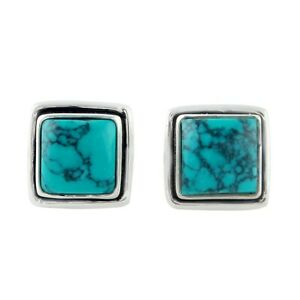 Square Turquoise Earrings 925 Sterling Silver Gemstone Jewelry Sale