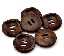 10x Strukturierte Holzknöpfe, Kaffeebraun, 2 Löcher, 30mm