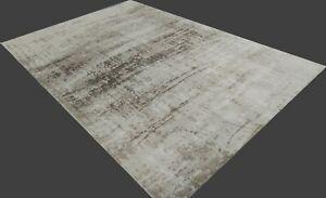 5'6x8' Rug | Hand-Woven Printed Rug Hard back Viscose Beige Area Rug