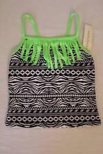 NEW Girls Tankini Top Swimsuit XS 4 - 5 Bathing Suit Black White Green Fringe