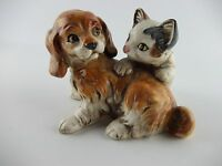 Vintage Enesco E9404 Kitten Puppy Figurine Playing Cat Dog Ceramic Japan