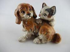 Vintage Enesco E9404 Kitten Puppy Figurine Playing Cat Dog Ceramic Japan